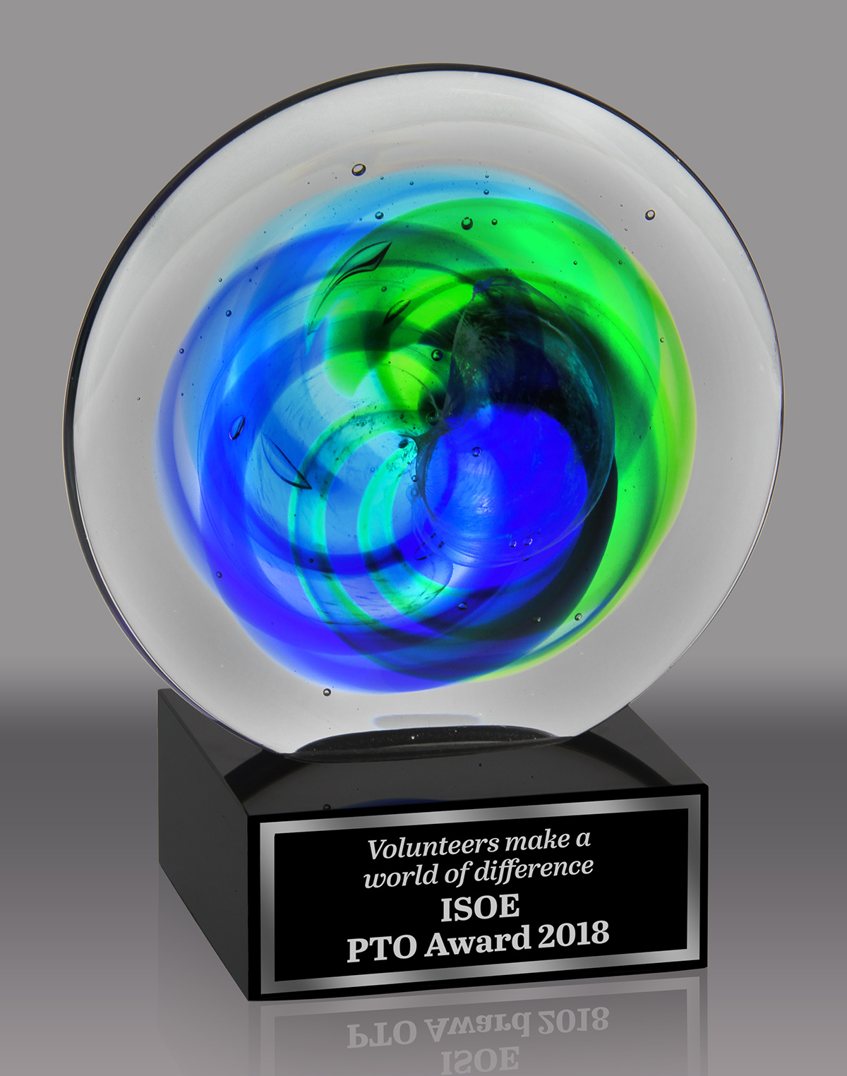 Art Glass Disk Award with Blue and Green Accents
