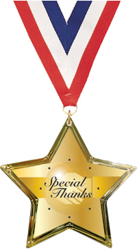 Special Thanks Star-Shaped Insert Medal