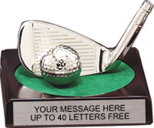 Golf Iron & Ball Silver Plated Award