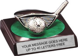 Golf Driver & Ball Silver Plated Award