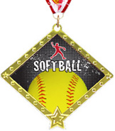 Softball Diamond Star Insert Medal
