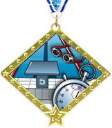 Swimming Diamond Star Insert Medal