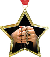 Religious Star-Shaped Insert Medal