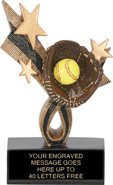 Softball Ribbon Star Resin