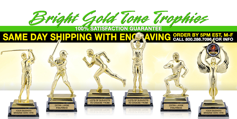 Bright Gold Tone Figure Trophies