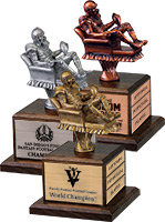 Armchair Fantasy Football Sculptures on Walnut Bases