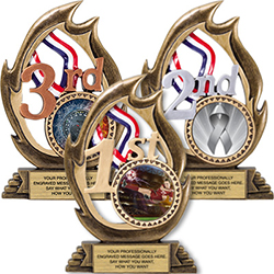 1st 2nd & 3rd Place Flame Color Resin Trophies