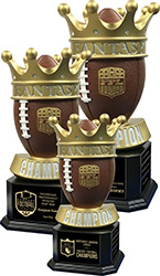 Crown of Champions Fantasy Football Trophy on Monument Bases
