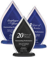 Flame Series Clear Acrylic Awards with Silk Screened Back