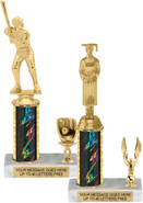 Single-Trim Trophies on White Marble Bases (Gold)