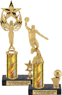 Single-Trim Trophies on Black Marble Bases (Gold)