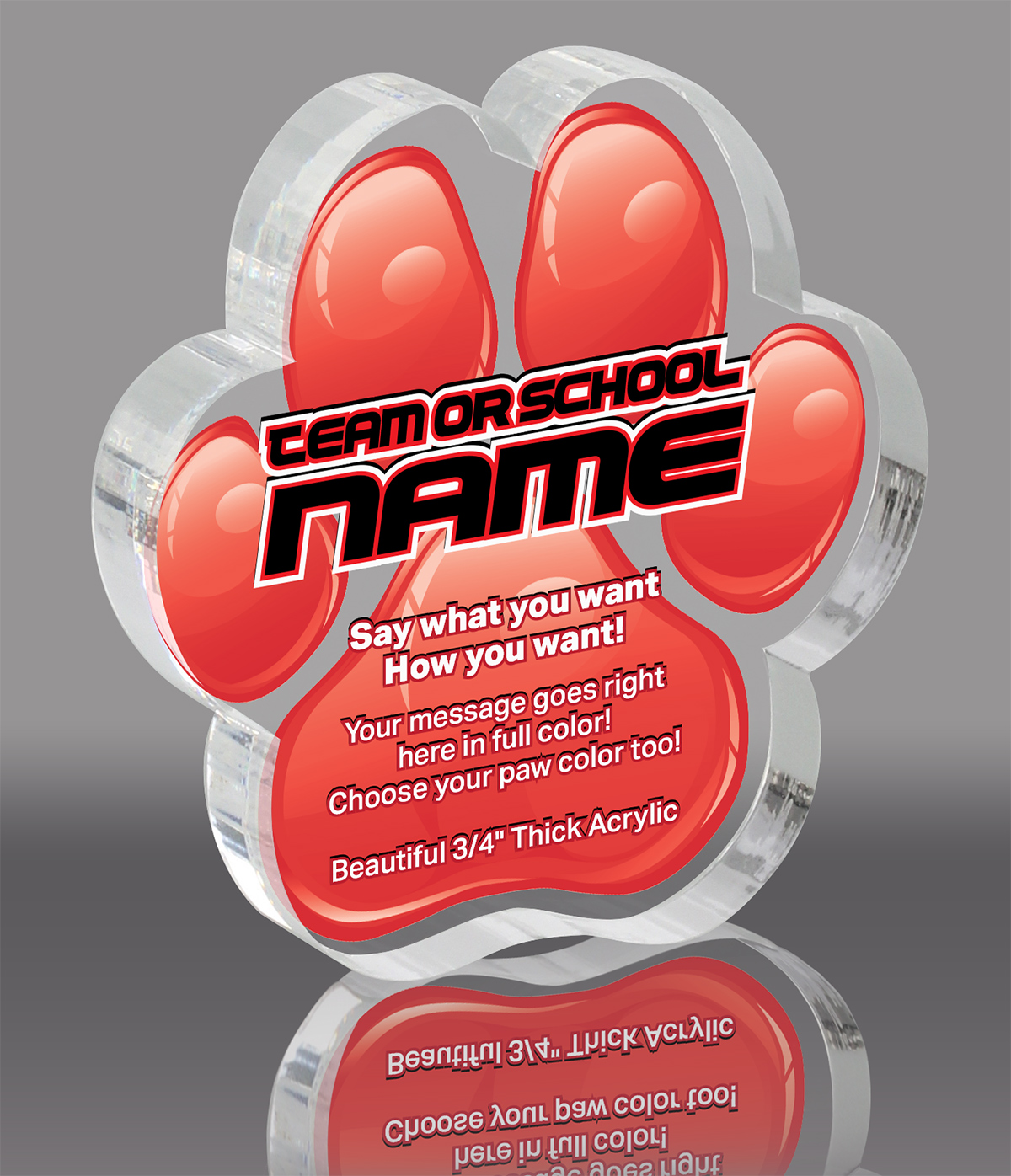 Red Acrylic ColorPaw- 3 inch