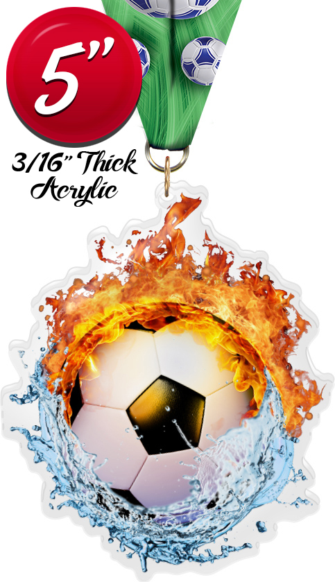 Soccer Fire & Water Colorix-M Acrylic Medal