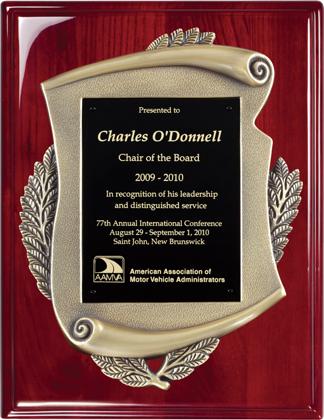Antique Gold Metal Casted Scroll on a Piano Finish Plaque - 12 x 15 inch