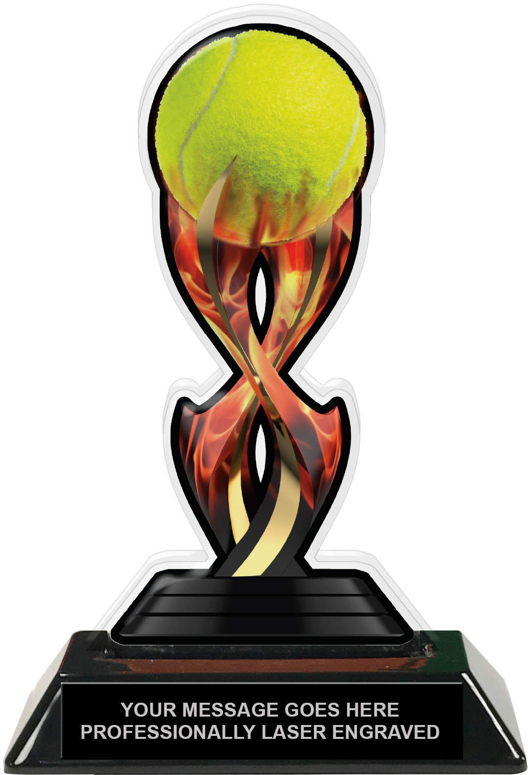 Tennis Tribal Flames Colorix Acrylic Trophy- 7 inch