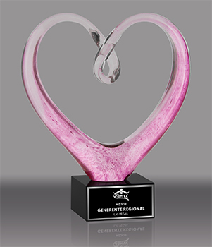Twisted Pink Heart Art Glass