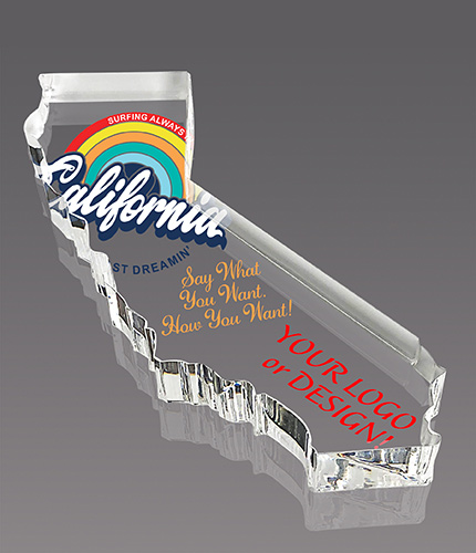 California Full Color Paperweight Acrylic Award- 6x3