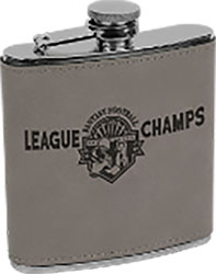Laserable Leatherette 6 oz Flask- Gray
