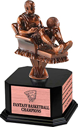 Bronze Finish Armchair Fantasy Basketball Sculpture on Monument Base