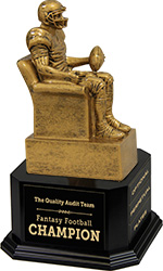 Gold Finish Armchair Fantasy Football Sculpture on Monument Base 3