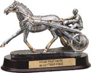 Harness Racing Pewter Finish Resin Trophy