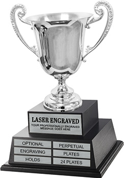 Silver Plated Cup Twin Tier Perpetual Trophy