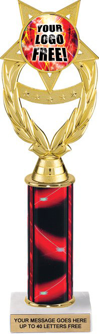 Wreath Victory Color Custom Insert Trophy w/ Column - 12.75 inch