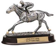 Horse Racing Pewter Finish Resin Trophy